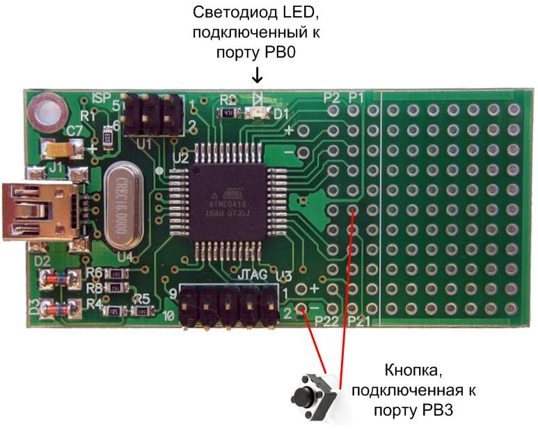 avr-usb-mega16-GPIO-using-example
