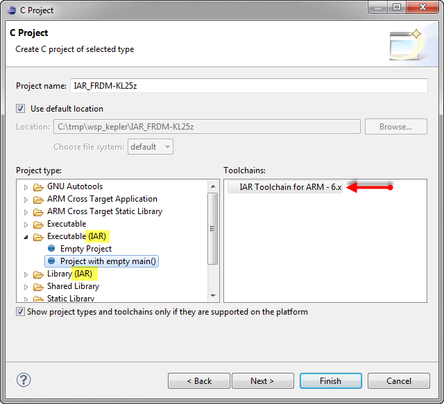 creating IAR project select type