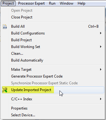 update imported IAR project