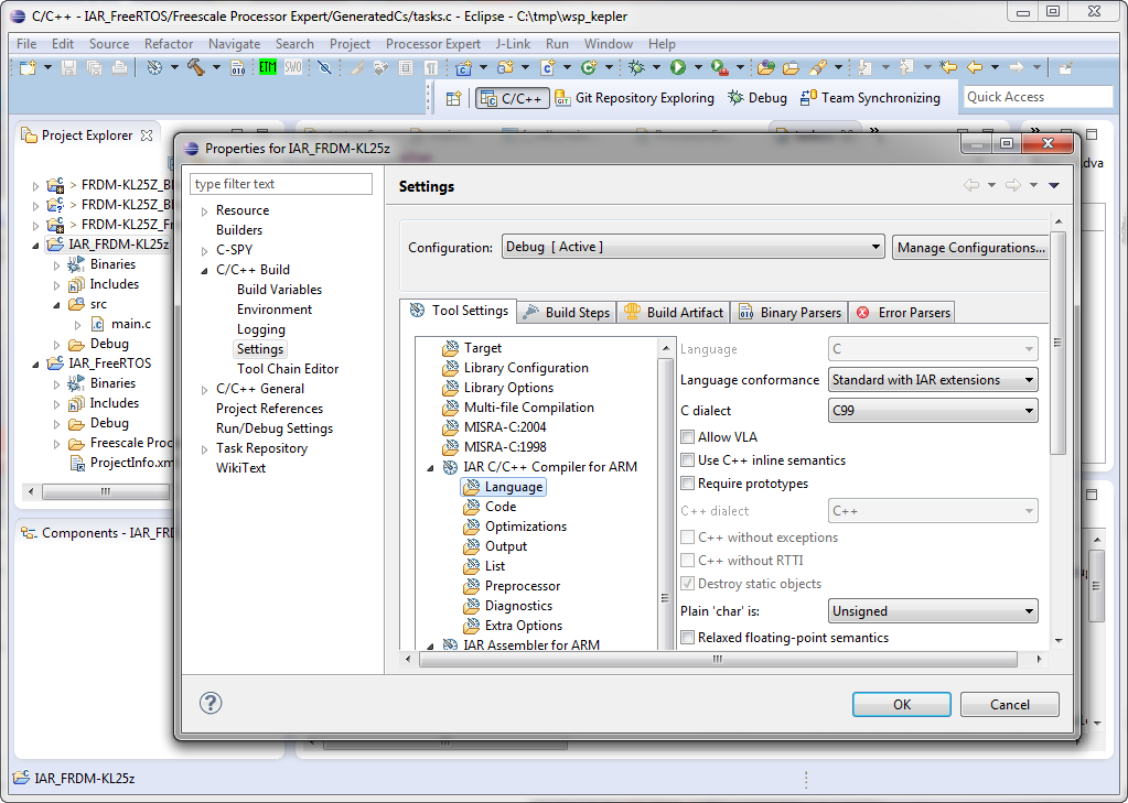 using iar tools in eclipse
