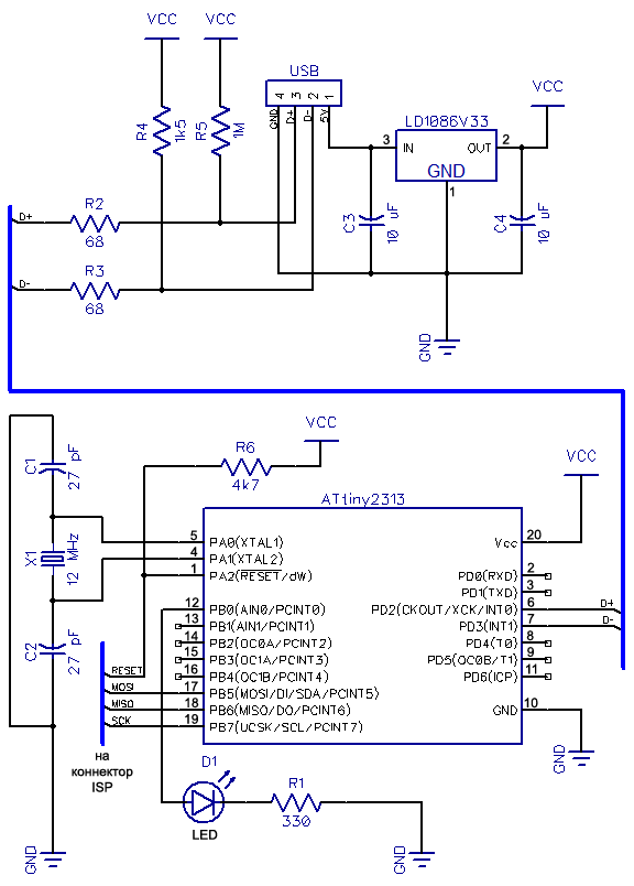 v usb tutorial ATtiny2313 schematic