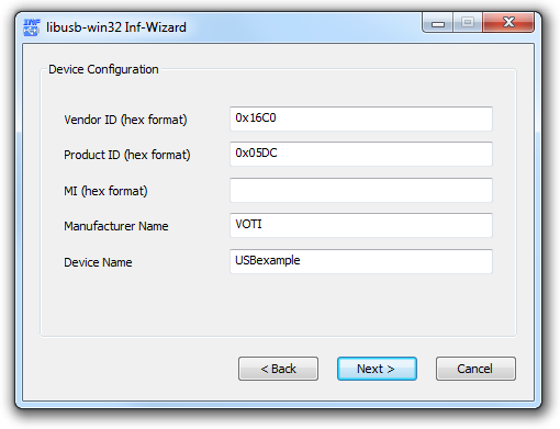 v usb tutorial INF wizard edit USB device parameters