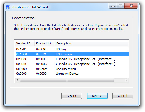 v usb tutorial INF wizard select USB device