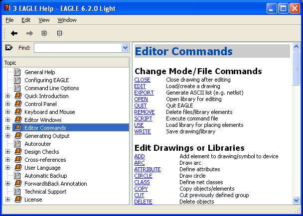 Eagle Help General Editor Commands