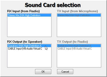 SDR HDSDR select sound card