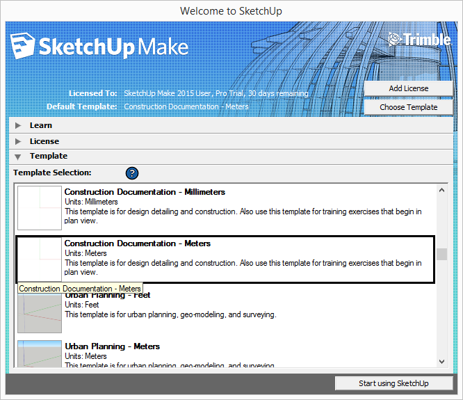 SketchUp select template meter