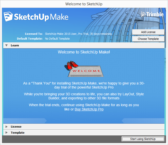 SketchUp welcome