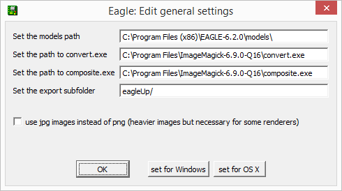 eagleUp general settings